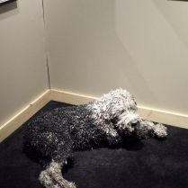 This dog is made entirely out of paper!