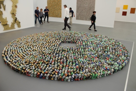 """Kader Attia's """"Halam Tawaaf,"""" 2008, consisting of 2,978 tall beer cans."""