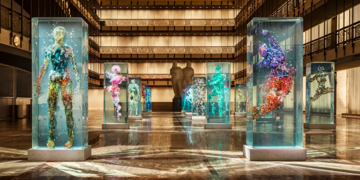 Dustin Yellin's Psychogeographies for New York City Ballet's 2015 Art Series, on the Promenade of the David H. Koch Theater | photo courtesy of Huffingtonpost.com