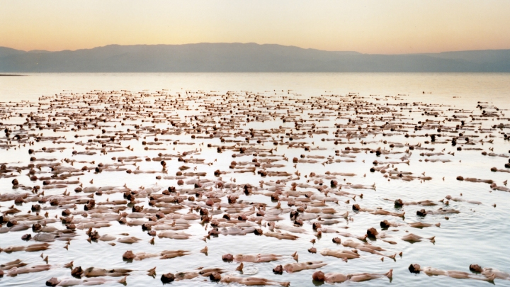 "Spencer Tunick, ""Dead Sea 1"", 2011, c-print mounted between plexi"