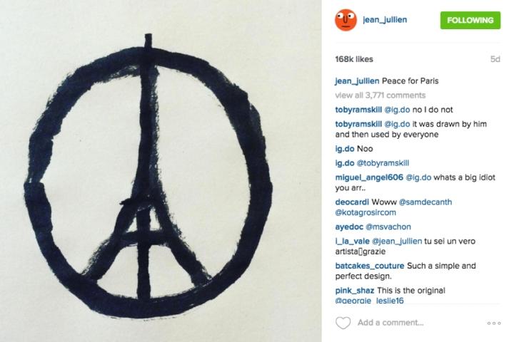 """Jean Julien's """"Peace for Paris"""" instagram"""
