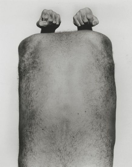 "John Coplans, ""Self Portrait: Back with Arms Above"", 1984, Gelatin Silver Print 111 4/5 × 85 in, 284 × 215.9 cm @ Galerie Nordenhake"